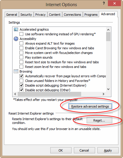 If all else fails, you can restore or reset all settings.