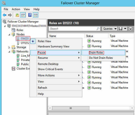 Failover Cluster Manager menu, drain roles