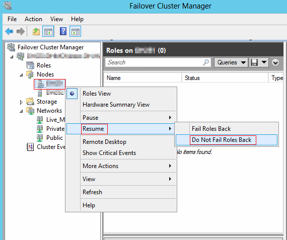 Failover Cluster Manager menu, fail roles back
