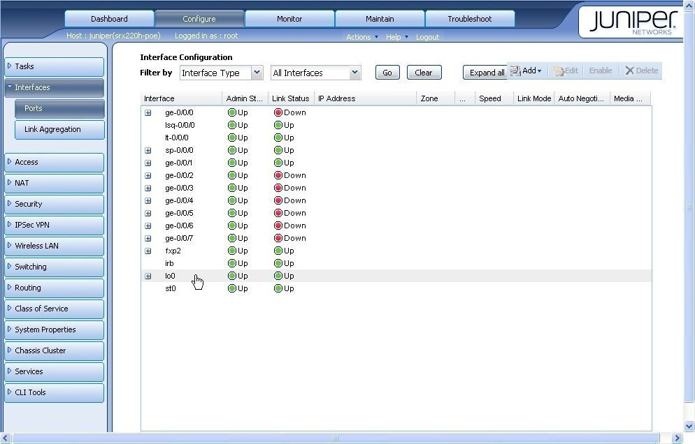 Juniper Networks' SRX interface configuration dashboard