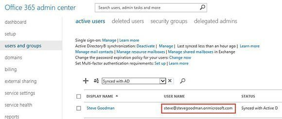 Incorrect login name in Office 365 portal