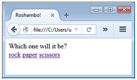 The roshambo user interface with a prompt and three links.