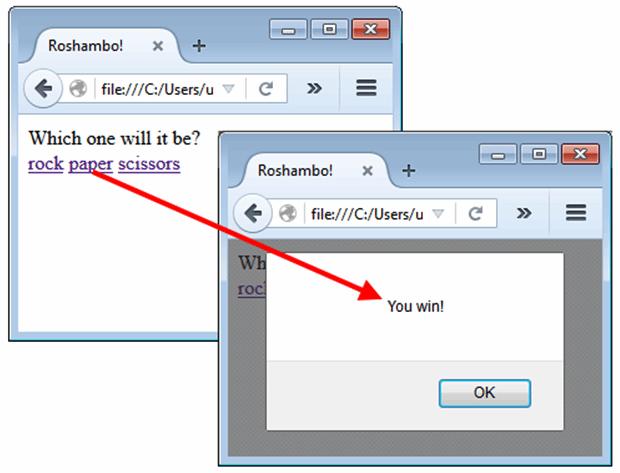The roshambo application using a JavaScript alert box.