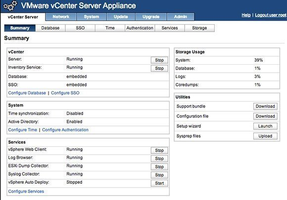 The vCSA Web-based appliance management interface