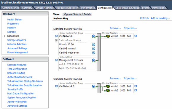 Change the network assignments of VMs