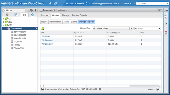 VM snapshot space displayed in the vSphere Web Client
