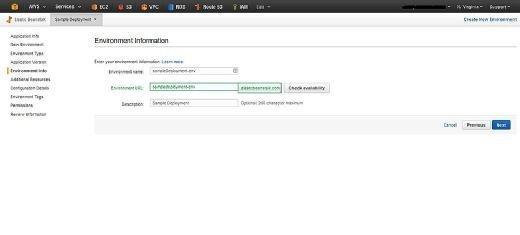 AWS Elastic Beanstalk environment information