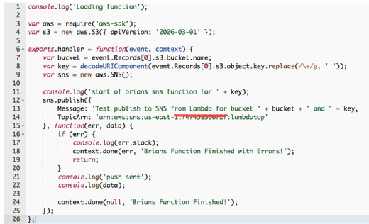 Code for the AWS Lambda example.