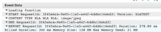 The detailed CloudWatch log shows memory usage.