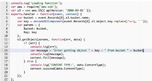 Node.js code for an AWS Lambda function.