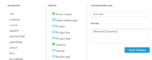 Amazon QuickSight lets you define calculated fields.