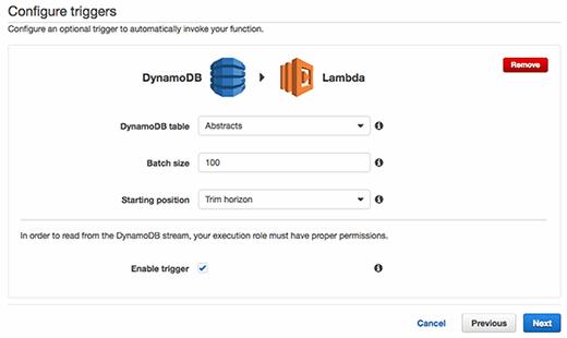 Configure DynamoDB triggers to invoke a Lambda function.