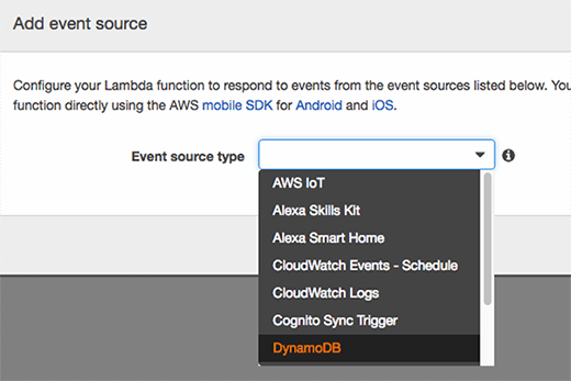 IT admins can choose different Lambda event source types.
