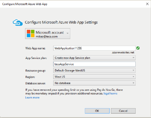 Creating Azure Web projects in Visual Studio 2015 community edition.