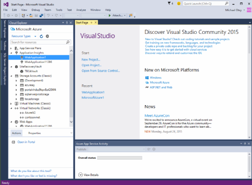 Visual Studio 2015 community edition running Cloud Explorer.