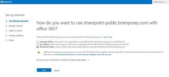 domain linking Exchange lync SharePoint