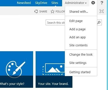 SharePoint, Settings icon, click Site Settings