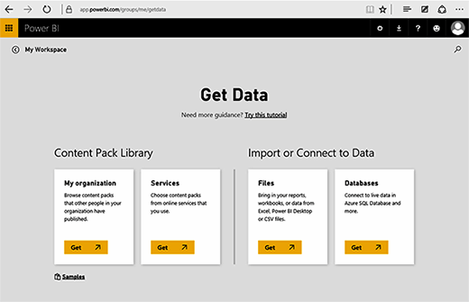Power BI Get Data page