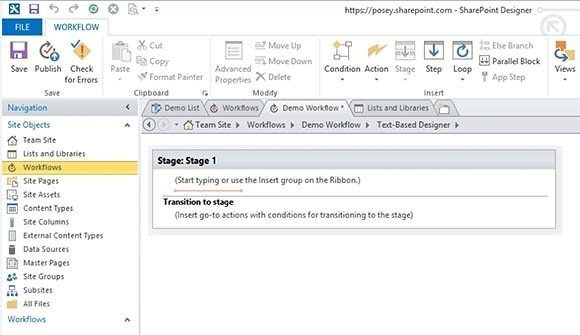 This is SharePoint's text-based workflow designer