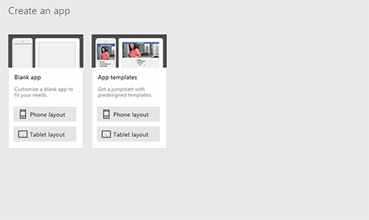 Template options from Microsoft PowerApps