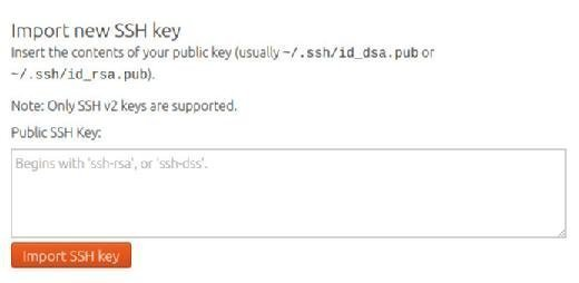 Import SSH key