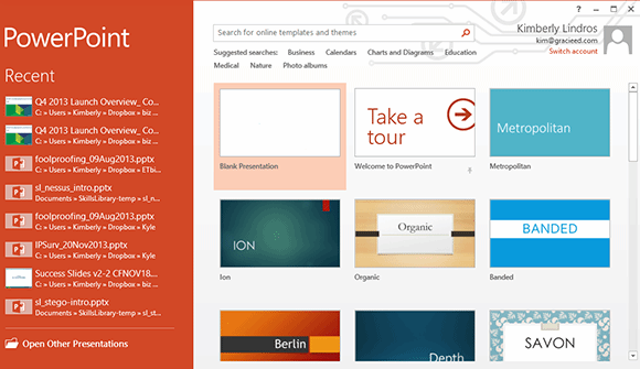 The Start screen for PowerPoint in Microsoft Office 2013