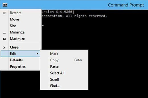 Windows 10 will allow text to easily be copied to the Command Prompt window.