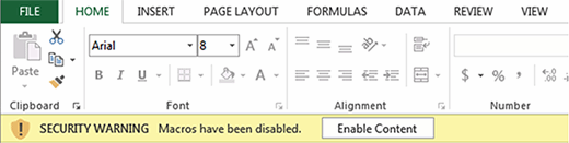 Macros disabled security warning in Excel