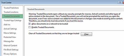 Trusted Documents settings