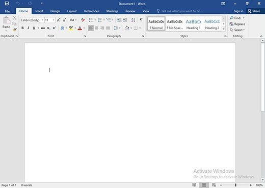 Desktop version of Word 2016