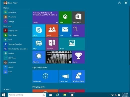 The Start menu can be used full screen.