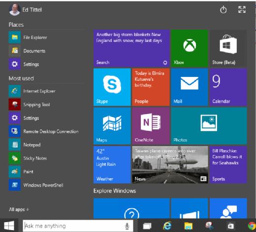 Windows 10 Start menu.