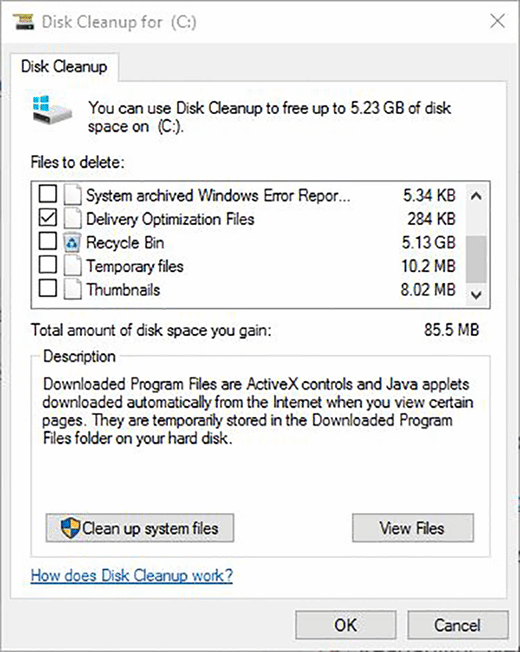Windows 10 disk cleanup menu
