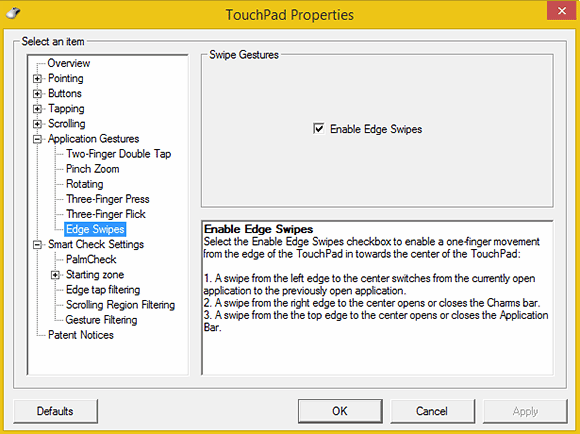 These are the TouchPad Properties dialog box settings for a Lenovo laptop touchpad.