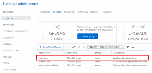 Office 365 Groups email