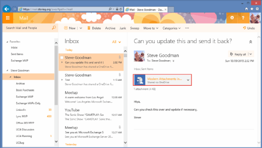 cloud attachments in Outlook 2016
