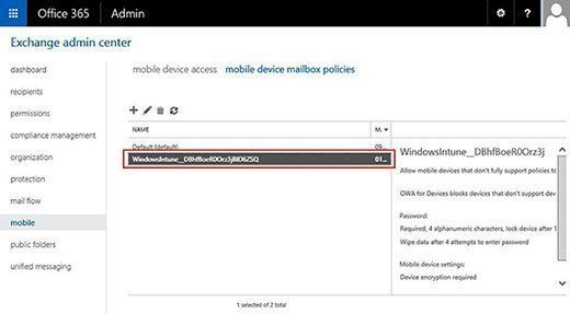 Mobile Device Mailbox policy