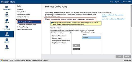 Targeted groups to enable conditional access