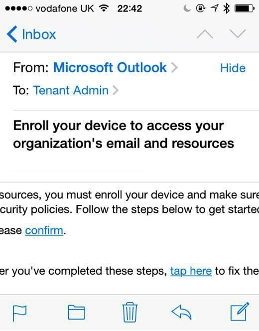 Enroll mobile device for conditional access