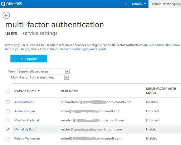 Multi-factor authentication service settings