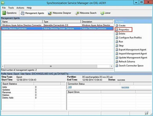 Active Directory Connector on the Management Agents tab