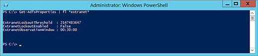 PowerShell cmdlets to set AD FS extranet lockout