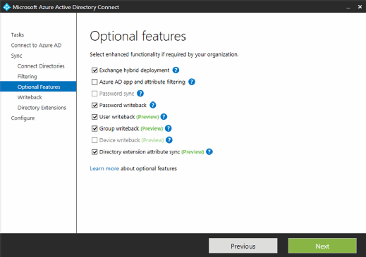microsoft azure active directory optional features