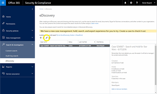 Office 365 eDiscovery case search criteria