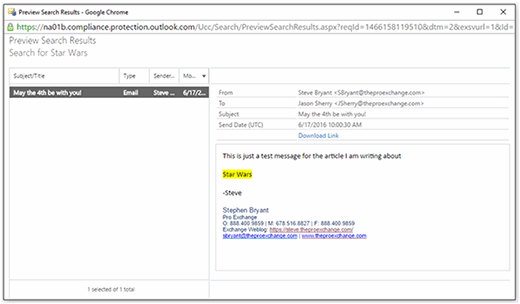 Office 365 eDiscovery Preview Search Results