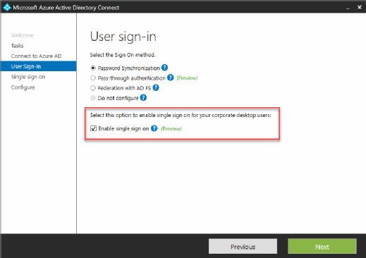 Azure AD configuration wizard