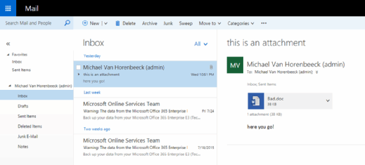 Exchange 2013 OWA screenshot