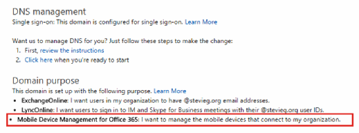 Select MDM for Office 365