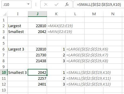 Finding the top three values using the Excel LARGE function