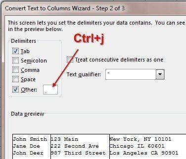 ctrl+j Excel